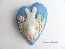 easter felt ornament with bunny and flowers
