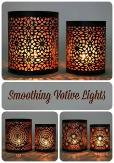 Metal votive candle holders featuring striking laser cut designs. When lit the design creates a serene shadow that instantly makes the room cozy and inviting. Perfect for all occasions and a great gift idea.