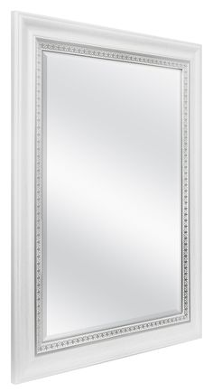 MCS Inch Embossed Accent Wall Mirror, 27 x 33 Inch, White Wood Grain with Silver Trim Finish Wall Mounted Mirror, Wall Mirror, Mirrors, Bathroom Fixtures, Shower Heads, White Wood, Emboss, Wood Grain, Oversized Mirror
