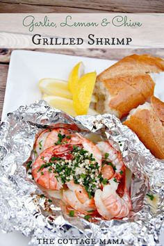 DIY Tin Foil Camping Recipes - Garlic Lemon And Chive Grilled Shrimp - Tin Foil Dinners, Ideas for Camping Trips healthy Easy Make Ahead Recipe Ideas for the Campfire. Breakfast, Lunch, Dinner and Dessert, Grilling Recipes, Fish Recipes, Seafood Recipes, Dinner Recipes, Cooking Recipes, Healthy Recipes, Cooking Dishes, Dinner Ideas, Dessert Recipes