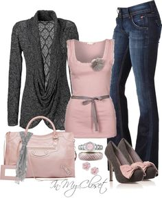 Fall #22 Pink & Gray // Polyvore