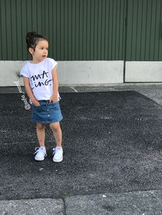 Kids Fashion Instagram outfit denim skirt white shirts converse