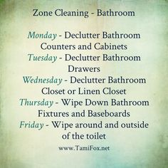 Getting Organized: In your home and homeschool Welcome to a new week! This week we are going to detail clean our main bathroom, and if you have extra helpers in your home, you can have everyone work together to … Continue reading → House Cleaning Jobs, Fly Lady Cleaning, Bathroom Cleaning Checklist, Zone Cleaning, Household Cleaning Tips, Cleaning Hacks, Flylady, Modern Warfare, Geek House