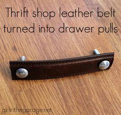 Turn a thrift shop leather belt into furniture drawer pulls…