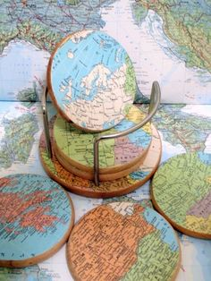 It would be fun to make these coasters with maps of places in the world you'd been.