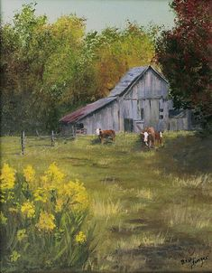 Looks just like my grandparents farm, sweet memories. ( I would call this when the cows come home)?