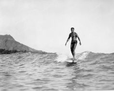 Man Surfing In Hawaii 8x10 Reprint Of Old Photo