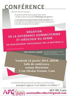 Conférence sur le gender : négation de la différence homme femme. Le vendredi 24 janvier 2014 à caen.  20H30