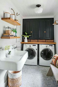 Laundry Room Is One Of Our Favorite Rooms–And Here's Why Monica Stewart Black and White Laundry Room.Monica Stewart Black and White Laundry Room. Laundry Room Design, House Design, Sweet Home, White Laundry Rooms, Laundry In Bathroom, Home Decor, Room Makeover, House Interior, Room Interior