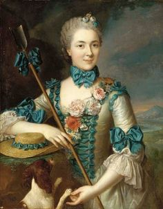 Portrait of a Lady, said to be Madame Louise Suzanne Edmée Martel as a Shepherdes. 18th Century, French School.