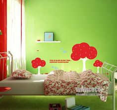 red cute tree wall decals in child room