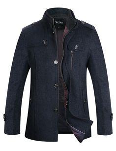 bed685685f2 APTRO Men s Winter Slim Fit Wool Coat Single Breasted Wool Peacoat   Amazon.co.