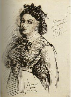 Portrait de Jeanne Duval (par le poète lui-même), maitresse et muse de Baudelaire.