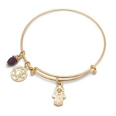 Expandable Gold Tone Hamsa Charm Fashion Bangle Bracelet