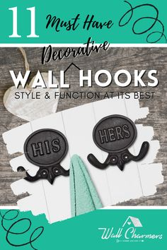 The basic function of wall hooks is to keep spaces neat and clean. Why settle for boring and standard? Sure, they have to be functional, but there is nothing that says they can't be stylish as well! We have put together 11 of our favorite must have decorative wall hooks just for YOU! All of them are designed to incorporate beautifully with your current decor style, no matter what the style! Rustic Wall Clocks, Rustic Walls, Rustic Wall Decor, Metal Wall Decor, Farmhouse Bedroom Decor, Rustic Farmhouse Decor, Bedroom Rustic, Bedroom Wall, Decorative Wall Hooks