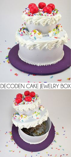 Silicone caulk decoden turns paper mache boxes into an awesome DIY fake cake jewelry box!