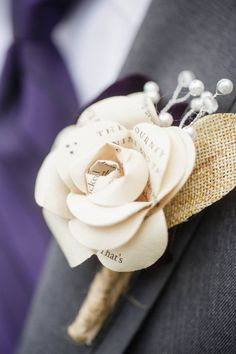 **To order more than one - please message me! It is much easier to create a custom listing for you once I know your exact preferences, as these are 100% custom!** These boutonnieres are 100% made to order, and can match your bridal/bridesmaids bouquets if you so choose. These bring a cohesive style to your wedding flowers - and they never die!! You and your groom will be able to keep these forever as mementos of your special day :) The flowers can be made of any book/paper you cho...