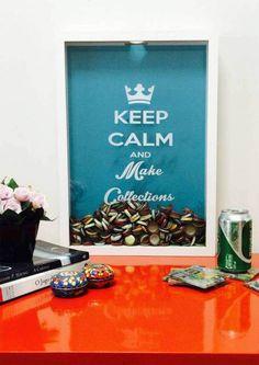 Quadro de Rolha e Tampinha - Keep Calm and Make Colections