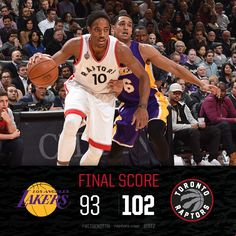 Ball game. Raps win!  Toronto outlasts the Lakers and improve 13-9 on the season. Strong performances by Terrence Ross (22/6), Bismack Biyombo (15/13) & Kyle Lowry (27/7/6) in the win.   12/7/2015