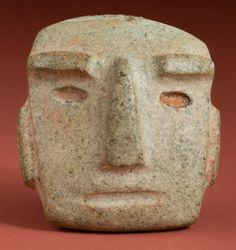 Pre-Columbian:Stone, Chontal Stone Mask...