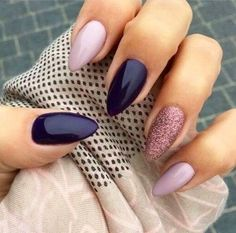 Pin For Trend Presented Trendy Almond Nail Designs For Beautiful Girls - Nail Art Images 2019 - 2020 (Latest Nail Polish Ideas And Images) Dark Color Nails, Dark Nails, Burgendy Nails, Oxblood Nails, Magenta Nails, Nails Turquoise, Purple Nail Art, Pink Nail, Green Nails