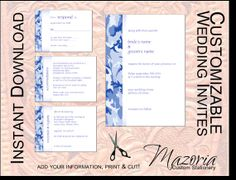 DIY Wedding Invite set TEMPLATE Instant Download printable (camo blue winter 5X7 with 3 cards)