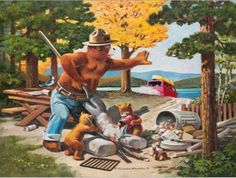 Hey, Come Back...: Smokey Bear Art by Rudolph Wendelin