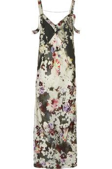 Floral-print twill gown