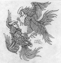 cock_fight_by_anomkojar.jpg × - - cock_fight_by_anomkojar. Hahn Tattoo, Fighting Tattoo, Rooster Illustration, Blackwork, Rooster Tattoo, Black Rooster, Rooster Art, Tattoo Stencils, Blood Sport