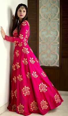 Indian Women Suits - Fuchsia Pink Floor Lenght Anarkali with Gold Embroidery | WedMeGood #wedmegood #indianbride #indianwedding #anarkali #fuchsia #pink #suit #indiansuit