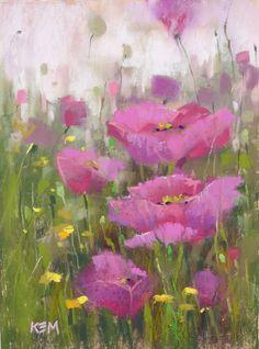 Painting My World Pastel 'Pink Poppy Profusion' - 6x8 ©Karen Margulis