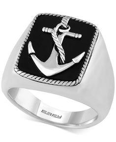 Effy Men's Onyx (8 x 6mm) Anchor Ring in Sterling Silver
