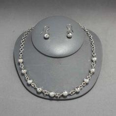 Collar y aretes de plata.Joyería de moda, necklace in sterling silver