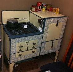 Art Deco enamel gas stove, #1920's ~ My first memories include a stove just like this and an ice box (that used a huge block of ice for the coolant...delivered every week)