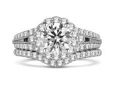 Fana split-shank halo #diamond engagement ring and #wedding band