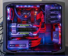 Red black Computer pc mod modification setup gaming computer rig