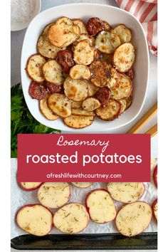 These Rosemary Roasted Potatoes sound too simple to taste this amazing . The herbs bake onto the potatoes and add extra crispiness and tons of flavor. So crazy good! #roastedpotatoes #sidedishes #healthysides #potatoes #sides