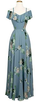 Trashy Diva Hollywood Long Dress in French Blue Roses