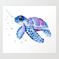 Blue Purple Sea Turtle, Turtle For Nursery Art Print by Surenart - X-Small Sea Turtle Art, Arte Sketchbook, Turtle Painting, Animal Paintings, Nursery Art, Watercolor Paintings, Watercolour, Artwork Prints, Cute Art