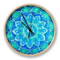 Abstract Blue Painted Picture with Circle Pattern, Mandala of Vishuddha Chakra Clock by shooarts at AllPosters.com