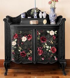 """Furniture decals by ReDesign with Prima are really easy to use and exceptionally detailed and gorgeous. They are simply a decal for furniture. """"Midnight Floral"""" furniture decal has gold and dark red roses. Floral Furniture, Furniture Wax, Decoupage Furniture, Refurbished Furniture, Furniture Makeover, Rustic Furniture, Oriental Furniture, Modern Furniture, Furniture Design"""