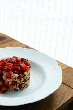 riso integrale con ortaggi rossi