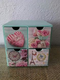 Cajonera Decoupage Drawers, Decoupage Furniture, Decoupage Box, Fun Crafts, Diy And Crafts, Unicorn Room Decor, Pallet Boxes, Decoupage Tutorial, Craft Bags