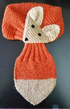 Diy Crafts - Orange/ Beige Fox Hand Knit scarf /neck warmer One Size fits most Made with acrylic yarn. The scarf is very cute warm and nice Size: leng Baby Boy Knitting Patterns, Baby Hats Knitting, Knitted Hats, Crochet Patterns, Crochet Hats, Fox Scarf, Hand Knit Scarf, Garter Stitch, Neck Scarves