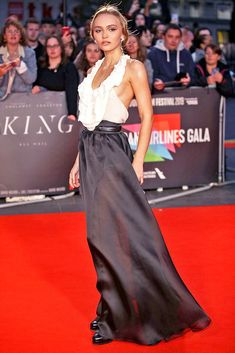 Lily-Rose Depp in Black and White Maxi at Premiere of 'The King' at BFI London Film Festival – Lily Rose Melody Depp, Lily Rose Depp Interview, Celebrity Look, Celebrity Photos, Lauren Goodger, Look Star, Georgia May Jagger, London Film Festival, London Films