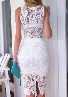 Back view of white lace two piece dress Casual Dress Outfits, Casual Summer Dresses, Trendy Dresses, Modest Dresses, Tight Dresses, Classy Outfits, Fashion Dresses, Formal Dresses, Lace Sheath Dress