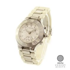 #Cartier 21 Chronoscaph gents quartz watch, stainless steel case with white synthetic bracelet and white dial #luxurywatches #watches #onlineauction