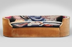 Corbeille sofa, 1923, designed by Pierre Chareau, with upholstery by Jean Lurçat, velours and tapestry. (Courtesy Jewish Museum)