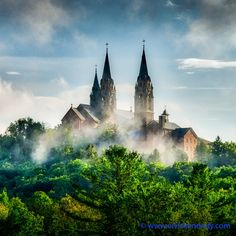 If you're lucky, like after a storm, fog rises out of the dense forest surrounding the Basilica.