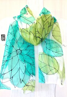 Silk Scarf Handpainted ETSY asap Gift for her by SilkScarvesTakuyo